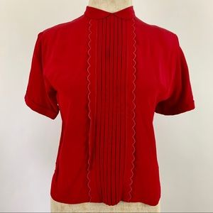 Vintage 1940's Red Rayon Back Button Blouse